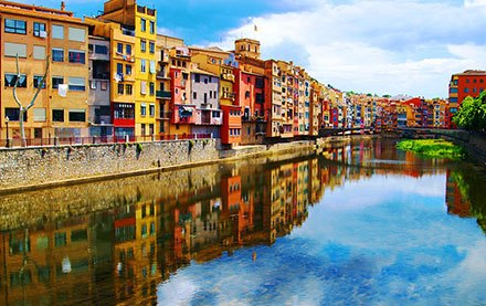 Houses in Girona reflected in river Onyar