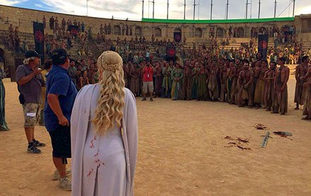 Emilia Clarke on the set of the Osuna's bullring